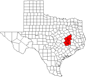 Counties included in the Brazos Valley Council of Governments